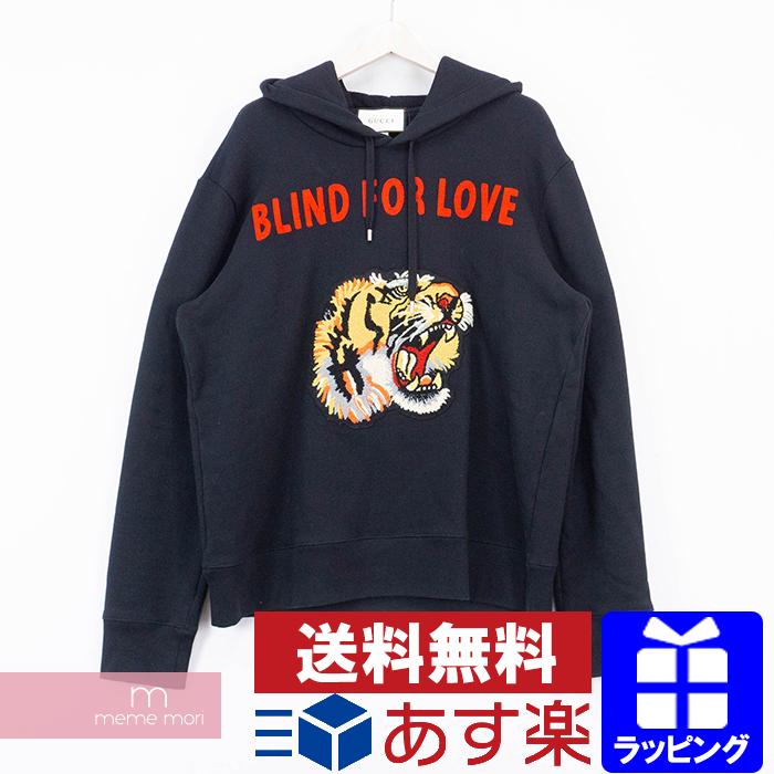 【全品15%OFF&クーポン!】GUCCI 2018AW Blind For Love Tiger Hoodie 454585 X5K91 グッチ ブラインドフォーラブタイガーフーディ プルオーバーパーカー ブラック サイズXL 【200420】【中古-A】