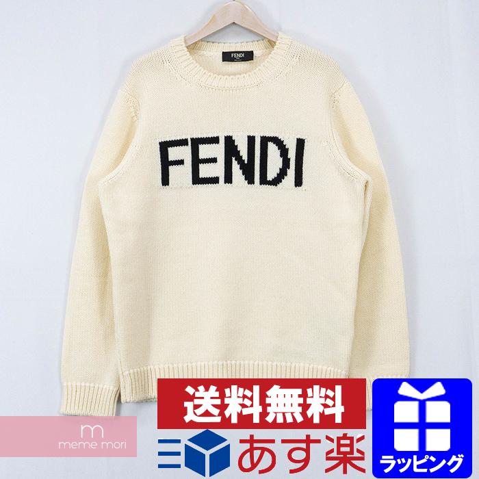 【全品15%OFF&クーポン!】FENDI Logo Intersia Knit FZZ387 A3M3 フェンディ ロゴインターシャニット セーター アイボリー サイズ52 【200420】【中古-A】