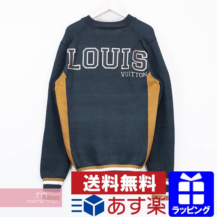 【全品15%OFF&クーポン!】LOUIS VUITTON Back Logo Knit Sweater HFN80WHQP ルイヴィトン バックロゴニットセーター パイソン Vネック ネイビー サイズXL 【200424】【中古-A】