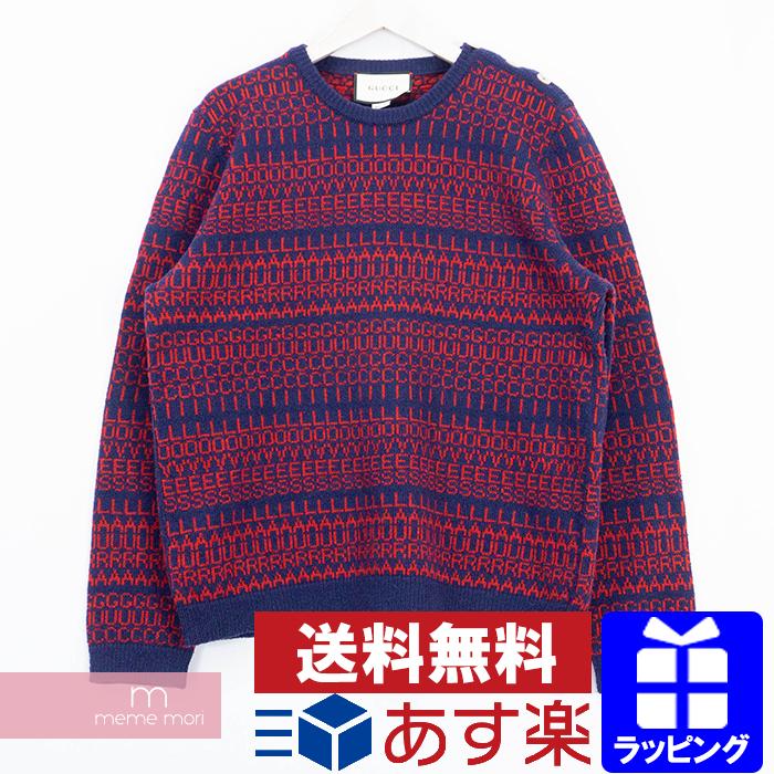 【全品15%OFF&クーポン!】GUCCI 2018AW Logo Crewneck Knit Sweater 496653 X1543 グッチ ロゴクルーネックニット セーター 総柄 ウール ネイビー×レッド サイズXL 【200426】【中古-B】