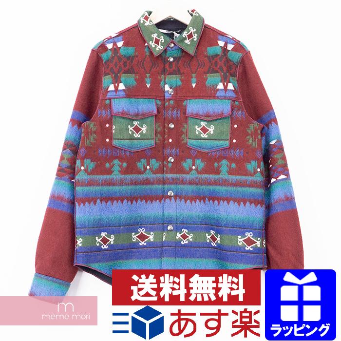 VALENTINO Nordic Shirt LV0CI1203S4 ヴァレンティノ ノルディックシャツ エンジ×マルチカラー サイズ48【200511】【新古品】【me04】
