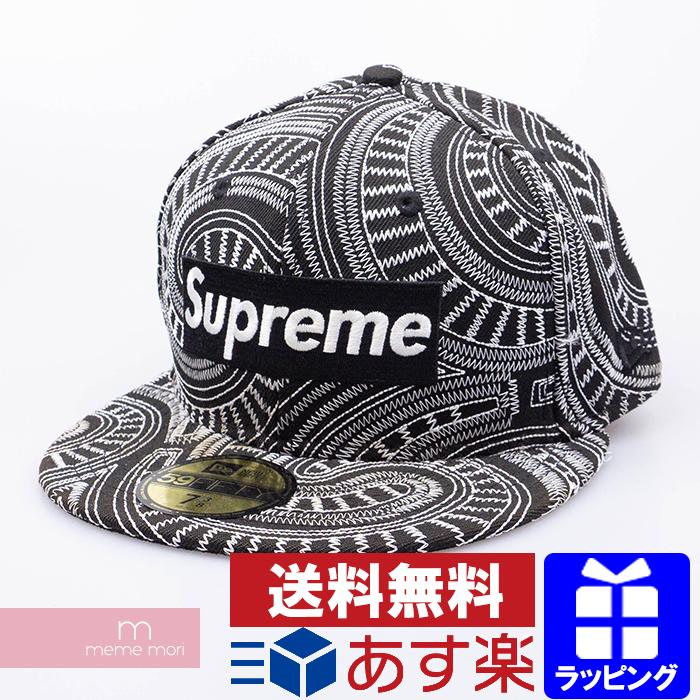 Supreme×New Era 2014SS Uptown Box Logo New Era Cap シュプリーム×ニューエラ アップタウンボックスロゴニューエラキャップ 総柄刺繍 帽子 ブラック×ホワイト サイズ7 3/8(58.7cm)【200513】【中古-C】