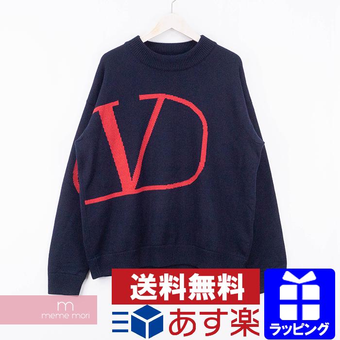【全品15%OFF&クーポン!】VALENTINO 2019AW V Logo Knit Sweater SV3KC03H5H6 ヴァレンティノ Vロゴプリントニットセーター 長袖 ウール ネイビー サイズXL 【200516】【中古-B】