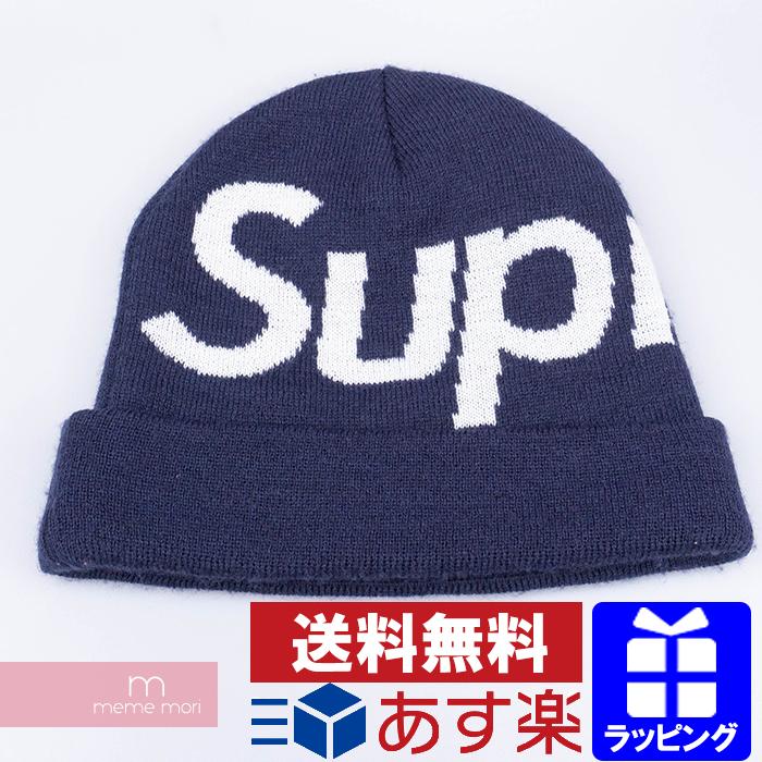 Supreme Big Logo Beanie シュプリーム ビッグロゴビーニー ニット帽 ニットキャップ ネイビー 【200517】【中古-A】