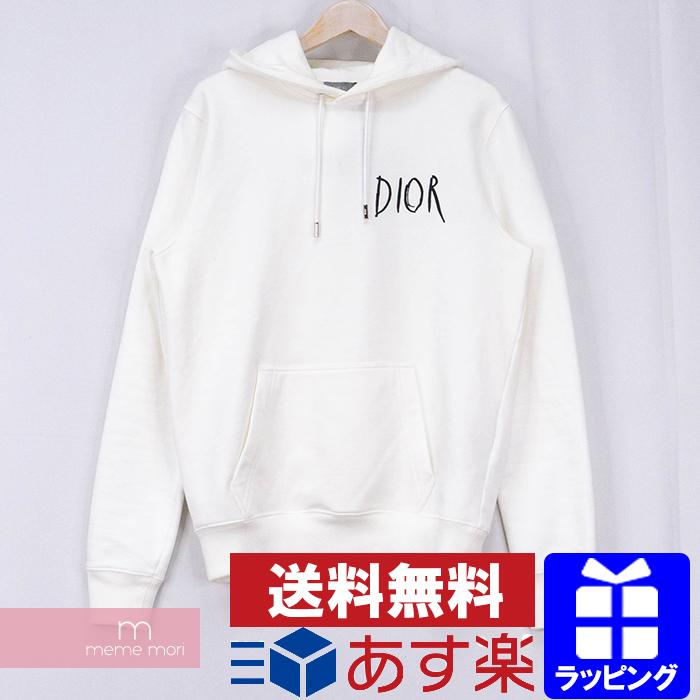 【全品15%OFF&クーポン!】Dior×Raymond Pettibon 2019AW Embroidery Cotton Sweatshirt 943J600E0531 ディオール×レイモンド・ペティボン エンブロイダリーコットンスウェットシャツ プルオーバーパーカー ロゴ刺繍 ホワイト サイズS【200520】【中古-A】