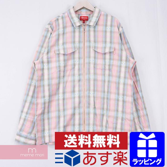【全品15%OFF&クーポン!】Supreme 2017AW Plaid Flannel Zip Up Shirt シュプリーム プレイドフランネルジップアップシャツ チェックシャツ ピンク サイズXL【200528】【新古品】