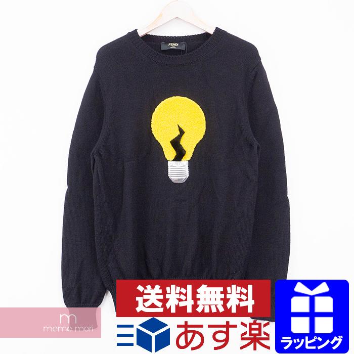 FENDI Light Bulb Motif Wool Knit FZZ155 3VY フェンディ 電球モチーフウールニット セーター ブラック サイズ50 【200626】【中古-B】