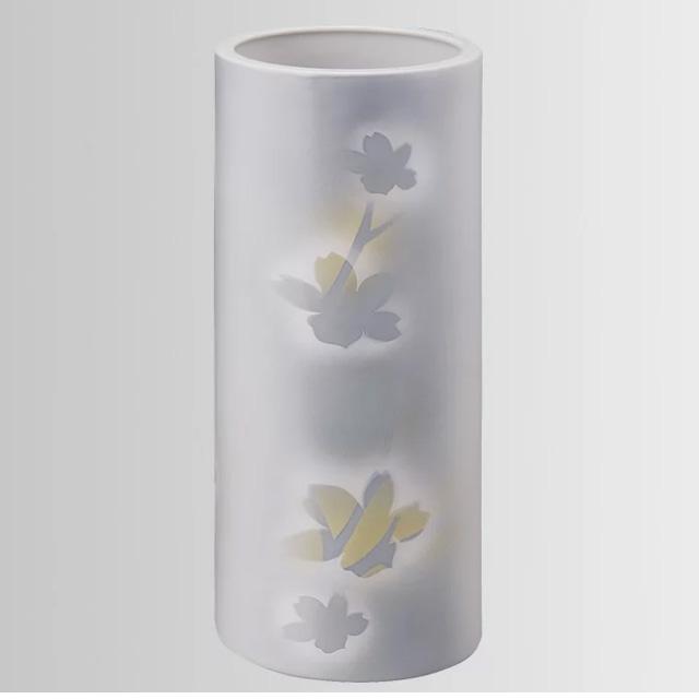 陶器 優九谷焼 紋箔銀彩 花立(花瓶)10号