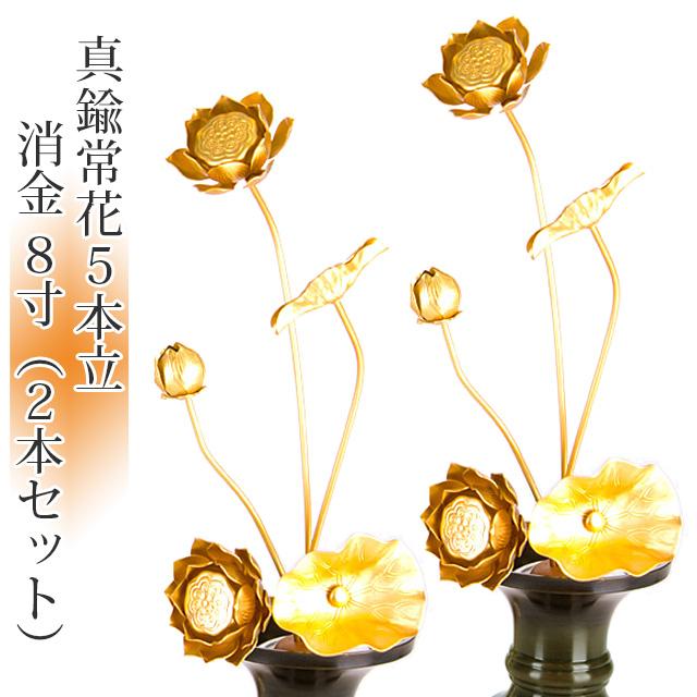真鍮常花 5本立 8寸 消金(2本セット・1対)【供え物】【造花】【モダン仏具】【仏壇】【8号】【じょうか】