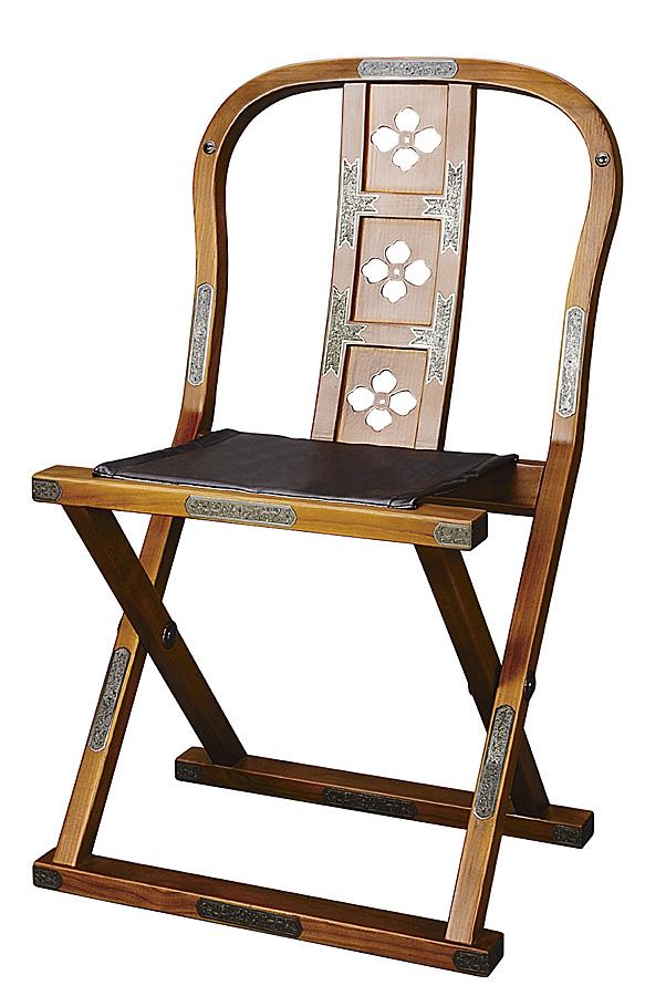 【寺院用椅子】 軽便曲録椅子 けやき色 金具打