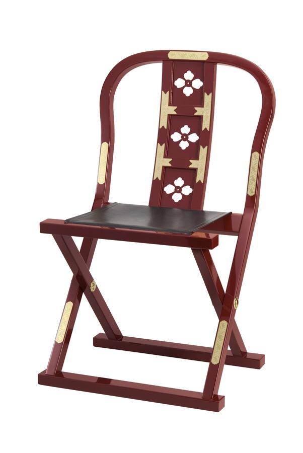 【寺院用椅子】 軽便曲録椅子 蒔絵金具模様