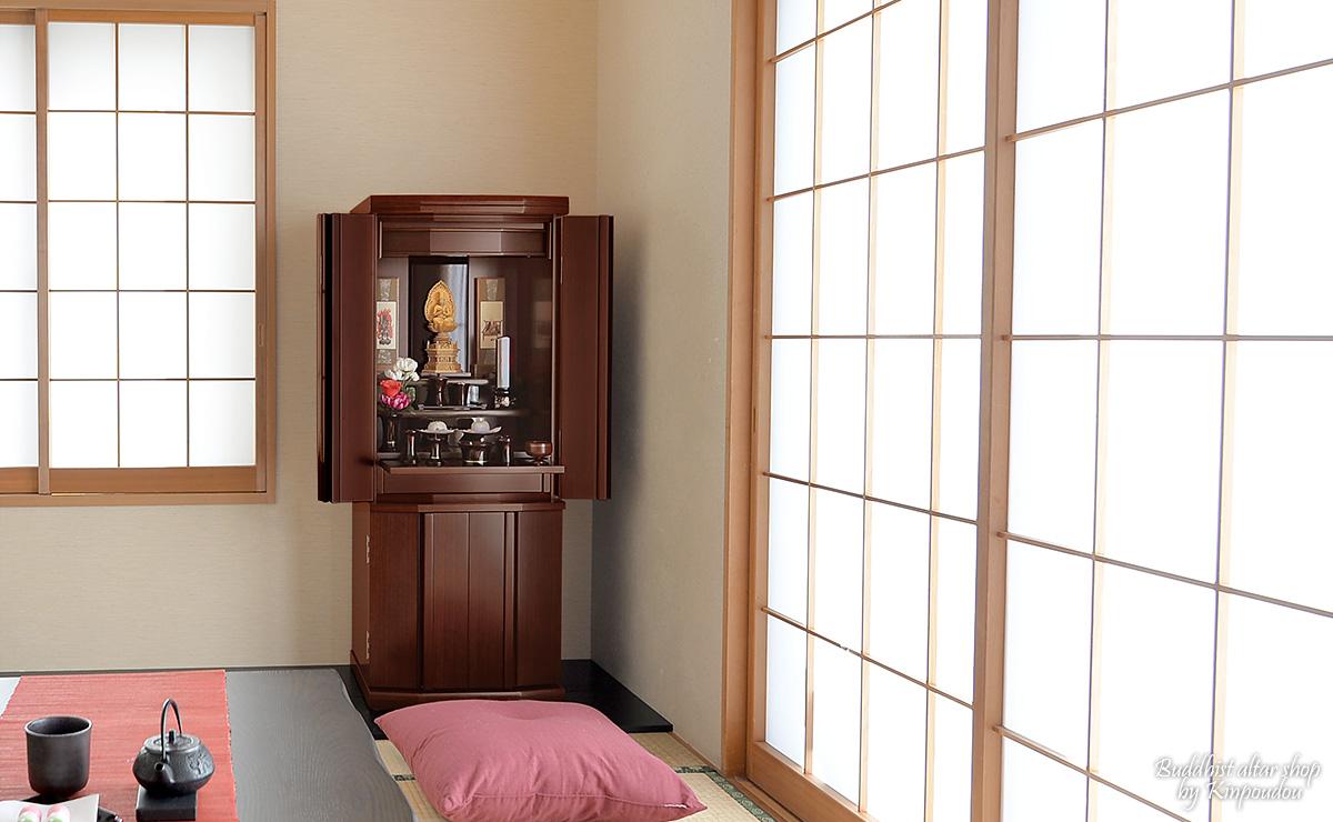 """现代的佛龛""""比利胡桃42*16号""""[buronko][佛具][佛龛][现代的佛龛][家具风格佛龛][国产][日本制造]※销售佛龛单物品"""