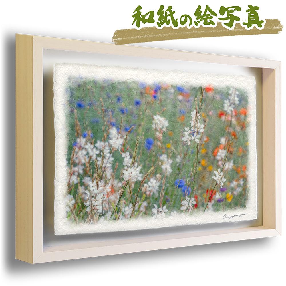 絵画のような写真のような優しい風合い。風景のグラフィックアートを和紙にプリントして額縁に。 絵画 インテリア おしゃれ 壁掛け 風景画 和紙 アート フレーム 53x38cm 花 春 白 「若緑の中のハクチョウソウ」 絵画 額入り