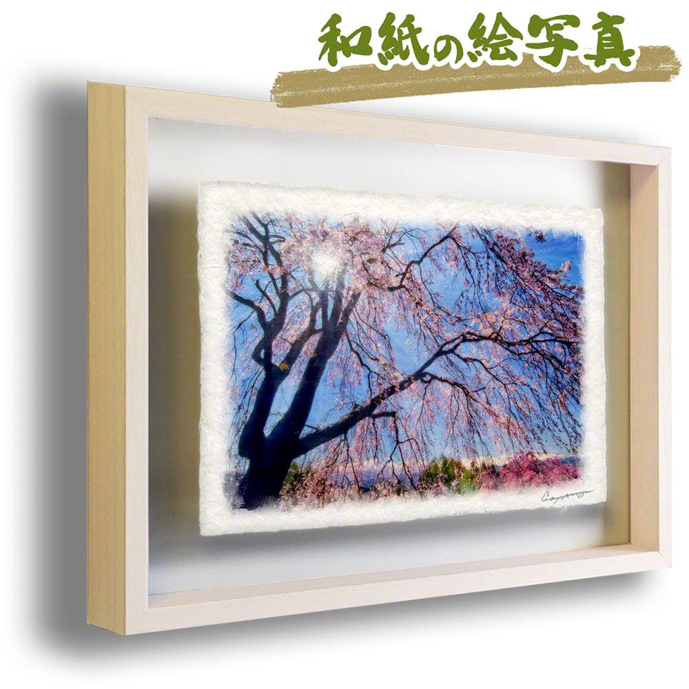 良質  和紙 アート 和紙 フレーム 83x63cm 花 春 ピンク ピンク 「見上げるしだれ桜と残雪の北アルプス」 83x63cm, 模型プラモ総合専門店 ホビコレ:d3d363a2 --- greencard.progsite.com