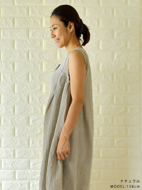 137defb95c4 Length slone square Ron square in winter long linen no sleeve hem pin-tuck  balloon dress (818174) Lady s spring and summer