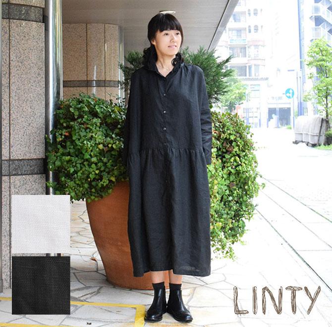 *【10%OFFクーポン配布中】【LINTY リンティ】リネン ワイド シャツ ワンピース (linty719301)【select】 レディース 春 夏 麻 日本製