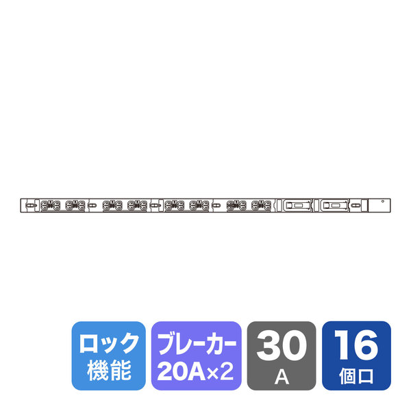 サンワサプライ 19インチサーバーラック用コンセント 200V(30A) 抜け防止ロック機能付き TAP-SV23016LK