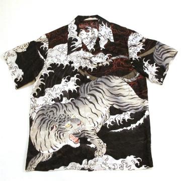 和柄【satori-さとり-】シルク半袖アロハシャツ〔見返り白虎総柄〕GSS-402、白・黒(全2色)、M~XL
