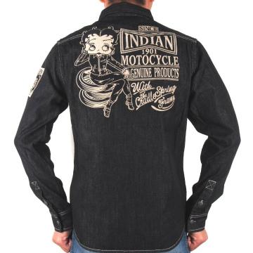【INDIAN MOTOCYCLEインディアン モトサイクル】デニム長袖シャツ〔Betty Boopベティブープ〕BBI-832、インディゴ・黒、M~XXL、バイカー・アメカジ・ネイティブ