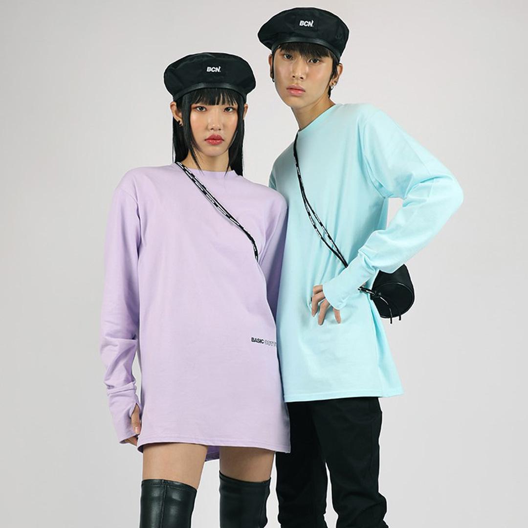 韓国 韓国ブランド 韓国ファッション トップス ロンT Tシャツ ロゴ ユニセックス 原宿 永遠の定番 ストリート 正規品 おすすめ あす楽対応 ベーシックコットン BASIC レディース 全4色 セール メンズ ウォーマートップス COTTON