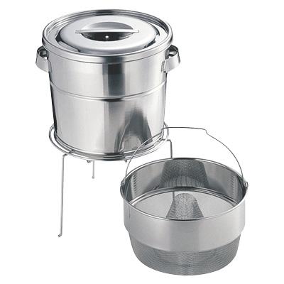 バケツ 厨房用 掃除 洗濯 ステンレス 日本製 業務用 清掃用品 バケット3 スタンド式(とんがり荒目 13L) V-1317C