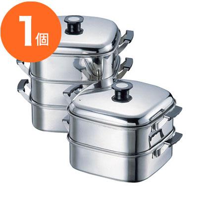 【蒸し器】 T 深型角蒸器 18-8プレス 3段 27cm 1個
