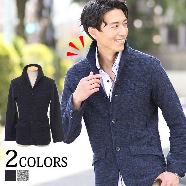 送料無料 ジャケット メンズ テーラードジャケット イタリアンカラー スラブ地 カジュアル ネイビー ブラック オフホワイト M/L/LL/3L