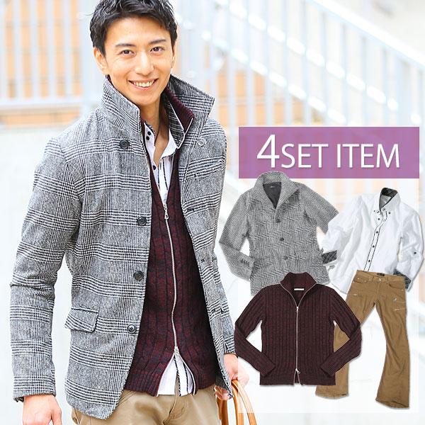 送料無料 ★セット買い★ジャケット×ニット×シャツ×パンツの4点セット