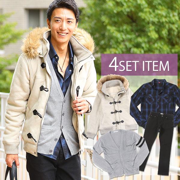送料無料 ★セット買い★コート×シャツ×カーディガン×パンツの4点セット DP