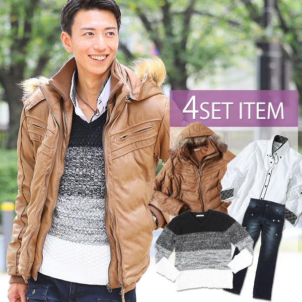 ★セット買い★ジャケット×ニット×シャツ×パンツの4点セット DS
