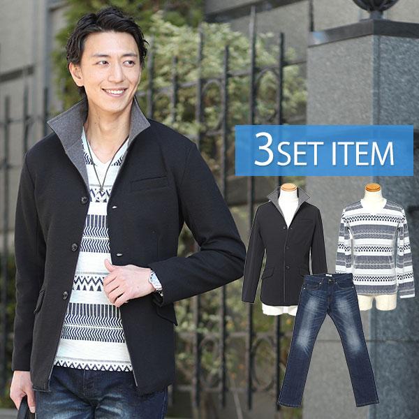 黒×チャコールジャケット×ボーダーTシャツ×紺デニムパンツの3点コーデセット 186