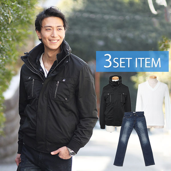 セット買い ☆国内最安値に挑戦☆ 最安値に挑戦 ジャケットセット 188 黒ジャケット×白Tシャツ×紺デニムパンツの3点コーデセット