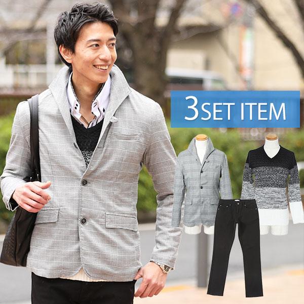 グレンチェックジャケット×黒×白ニット×黒パンツの3点コーデセット 190