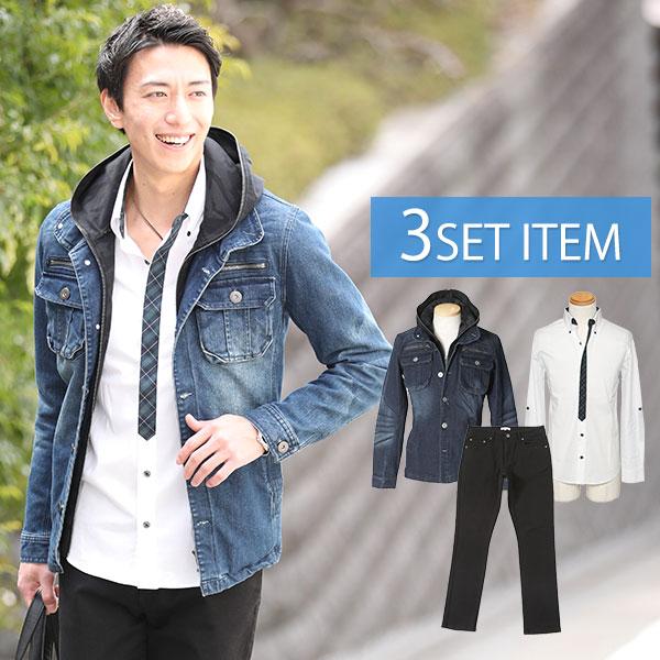 インディゴデニムジャケット×緑チェックシャツ×黒パンツの3点コーデセット 192