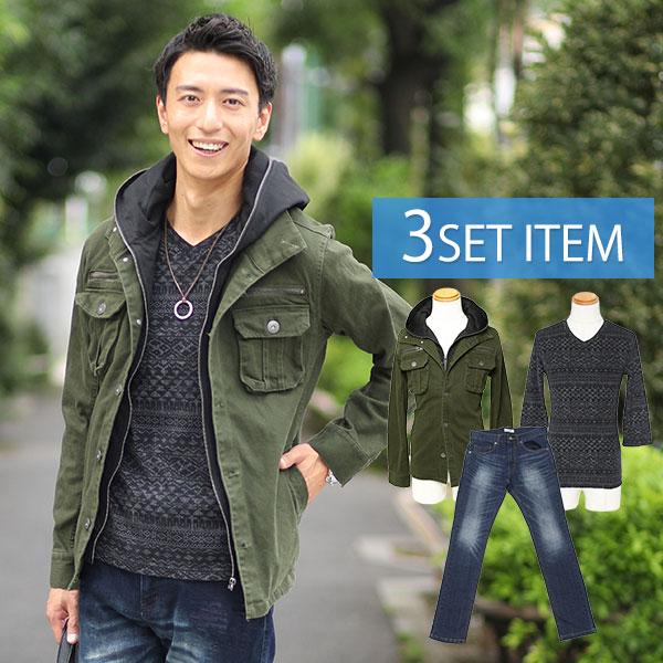 カーキデニムジャケット×黒Tシャツ×紺デニムパンツの3点コーデセット 194