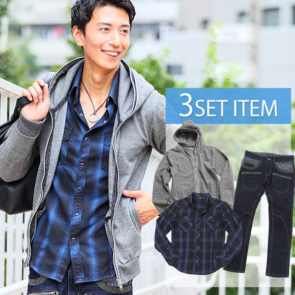 パーカー パーカ シャツ カジュアルシャツ パンツ ボトムス メンズ ★セット買い★パーカー×シャツ×パンツの3点セット CD