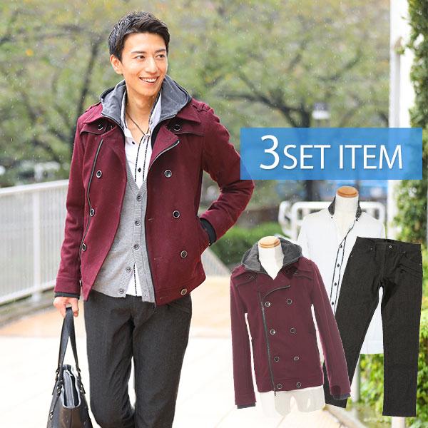 送料無料 新作 人気 コートだけの値段でコーデ全部GET ☆コートセット☆コート×シャツ×パンツの3点セット 15 まとめ買い特価