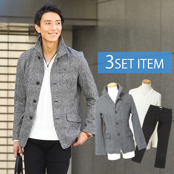 送料無料 コートだけの値段でコーデ全部GET ☆コートセット☆ジャケット×ニット×パンツの3点セット SALE開催中 完売 35