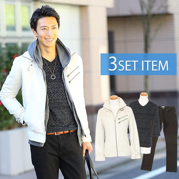 ★ジャケットセット★ アイボリージャケット×黒Tシャツ×黒パンツ3点コーデセット45