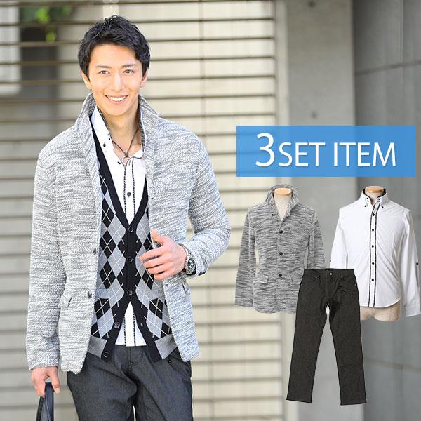 ☆ジャケットセット☆オフホワイト×黒ジャケット×白シャツ×黒パンツ3点コーデセット 66