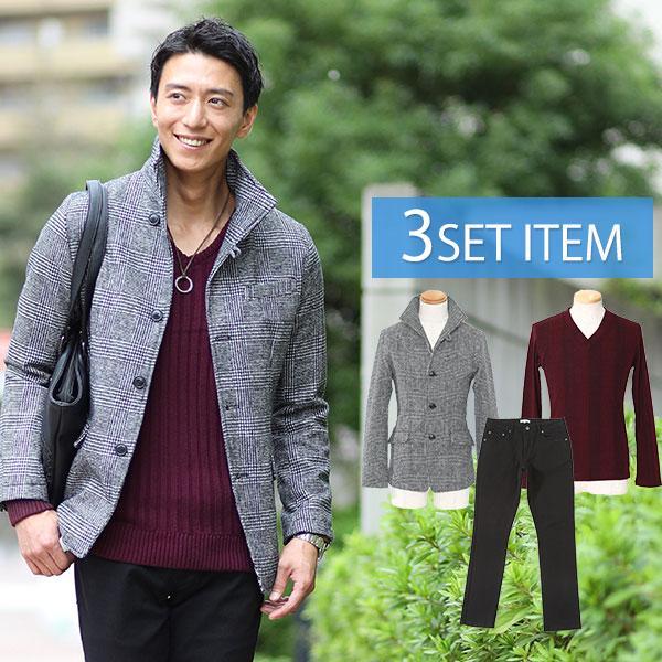 ☆ジャケットセット☆グレンチェックジャケット×ワインTシャツ×黒パンツの3点コーデセット 70