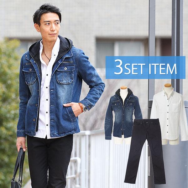 ☆春アウターセット☆インディゴジャケット×白シャツ×ブラックパンツ3点コーデセット 3