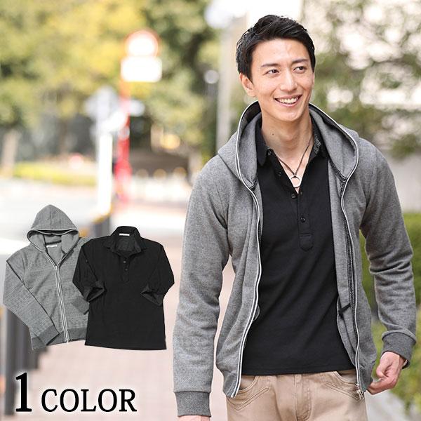 送料無料 パーカー ポロシャツ 7分袖 人気パーカー×7分袖ポロシャツ 2点セット