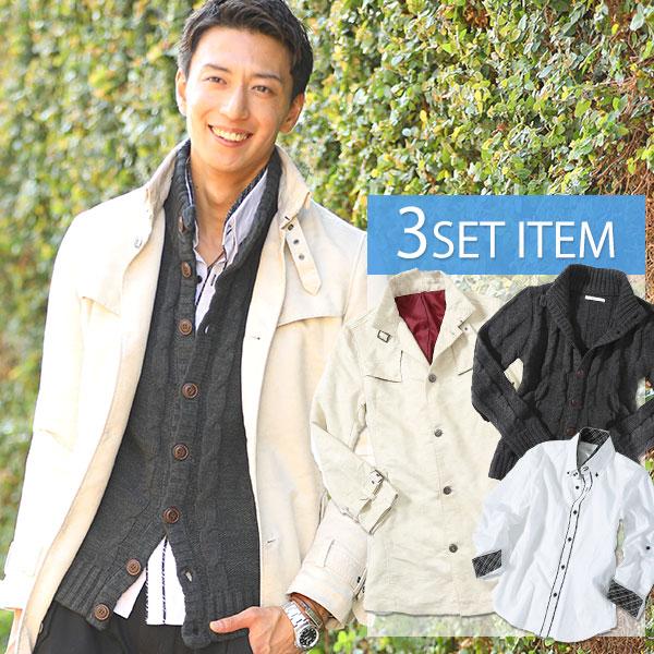 送料無料 ★セット買い★コート×ニット×シャツの3点セット
