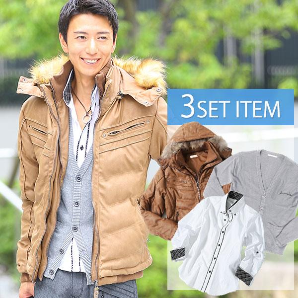 送料無料 ★セット買い★ジャケット×カーディガン×シャツの3点セット
