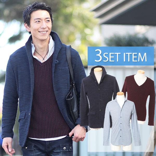 送料無料 ☆セット買い☆紺×黒ジャケット×ワインTシャツ×青シャツの3点セット 49