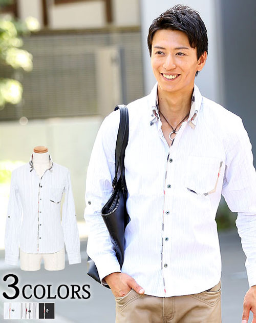 メンズ シャツ カジュアル 長袖 ストライプ 二枚襟