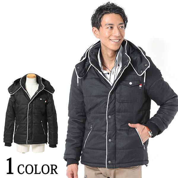 送料無料 さり気デザインがシンプルかっこいいジャケット姿に ウールタッチパイピングデザイン中綿ジャケット 開店祝い 日本全国 送料無料