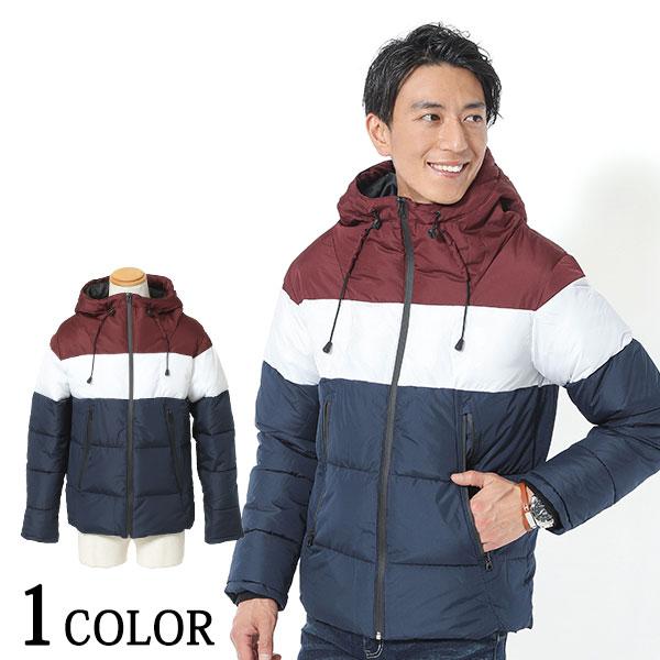 トリコロールデザインボリュームネック中綿ジャケット