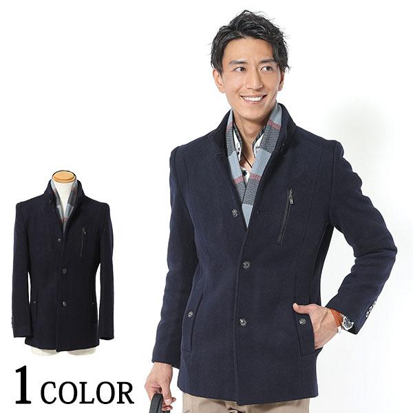 半額 送料無料 嬉しいマフラー付き 高級感漂う大人コート 永遠の定番モデル チェックマフラー付きジップデザインウールコート